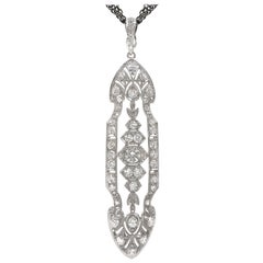 Julie Romanenko Art Deco Platinum Gold Diamond Long Triple Chain Necklace