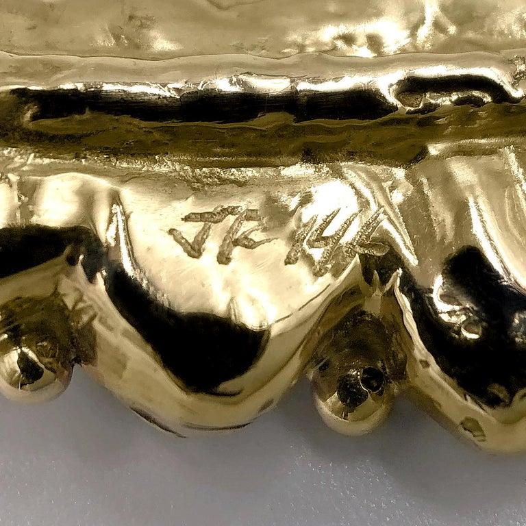 Artisan Julie Romanenko One of a Kind Boulder Opal White Diamond Gold Cuff Bracelet For Sale