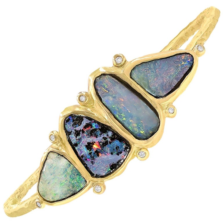 Julie Romanenko One of a Kind Boulder Opal White Diamond Gold Cuff Bracelet For Sale