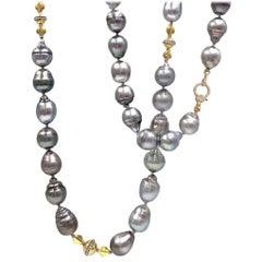 Julie Romanenko Tahitian Baroque Pearl Diamond Gold Long Necklace