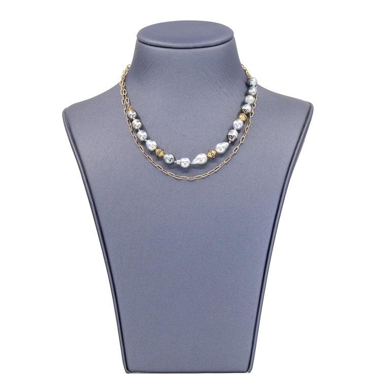 Artisan Julie Romanenko Tahitian Baroque Pearl Diamond Gold Necklace and Wrap Bracelet For Sale