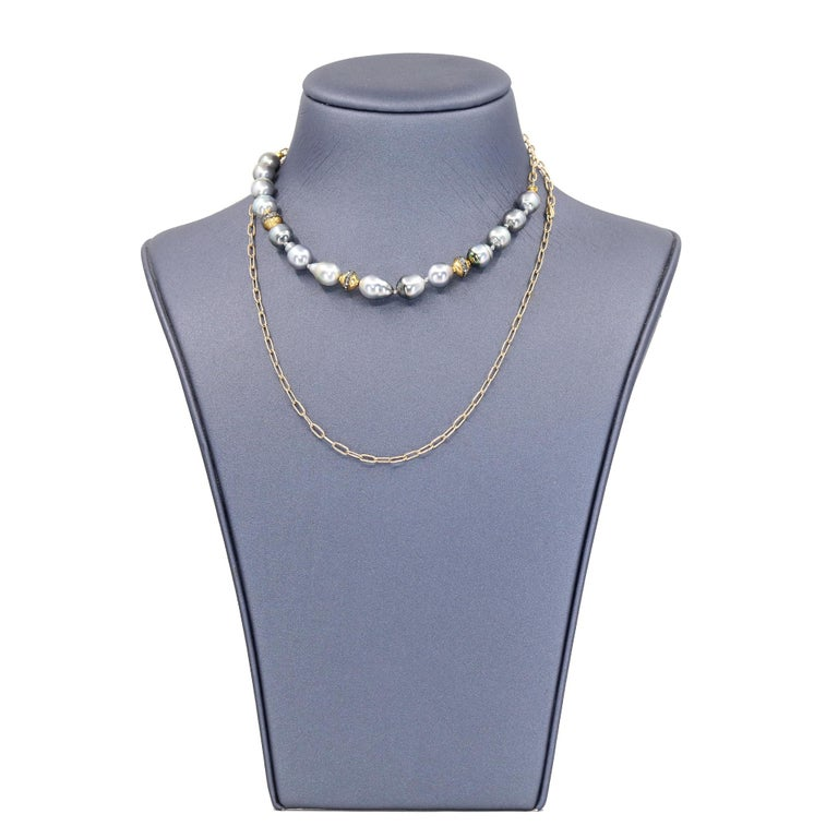 Round Cut Julie Romanenko Tahitian Baroque Pearl Diamond Gold Necklace and Wrap Bracelet For Sale