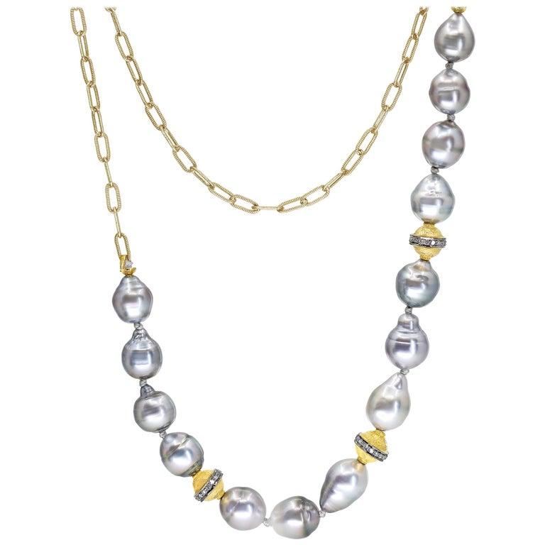 Julie Romanenko Tahitian Baroque Pearl Diamond Gold Necklace and Wrap Bracelet For Sale