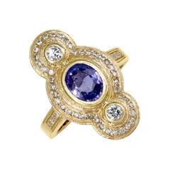 Julie Romanenko Tanzanite White Diamond One-of-a-Kind Art Deco Gold Ring