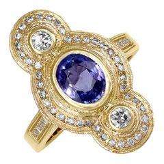 Julie Romanenko Tanzanite White Diamond One-of-a-Kind Art Deco Style Gold Ring