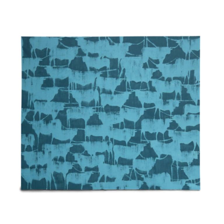 LONGHORNS - Blue Animal Painting by Julie Sneed