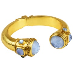 Julie Vos Catalina Hinge Cuff Gold Blue Stone