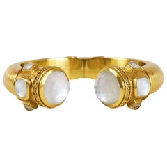Julie Vos Catalina Hinge Cuff Gold White Stone