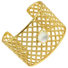 Julie Vos Loire Cuff Gold Bracelet with Clear Crystal