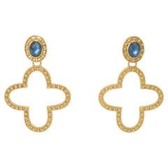 Julie Vos Blue Glass & Gold Tone Dangle Earrings