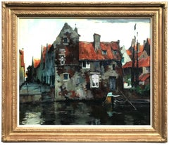 Bruges Canal Scene, Oil on Canvas Painting