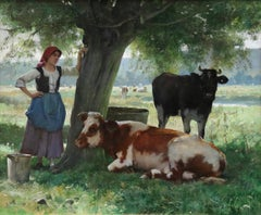 Resting - 19th Century Oil, Figure with Cattle in Landscape by Julien Dupre