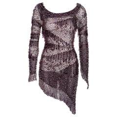 Julien Macdonald purple crochet knit beaded mini dress, fw 2004