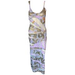Julien MacDonald S/S 2001 Embellished Sheer Mesh Panels Knit Maxi Dress