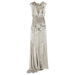 Julien Macdonald Silk Silver Feather Applique Gown - Size US 4