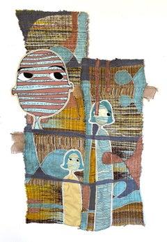 Handwoven textile wall hanging: 'Cheryl'