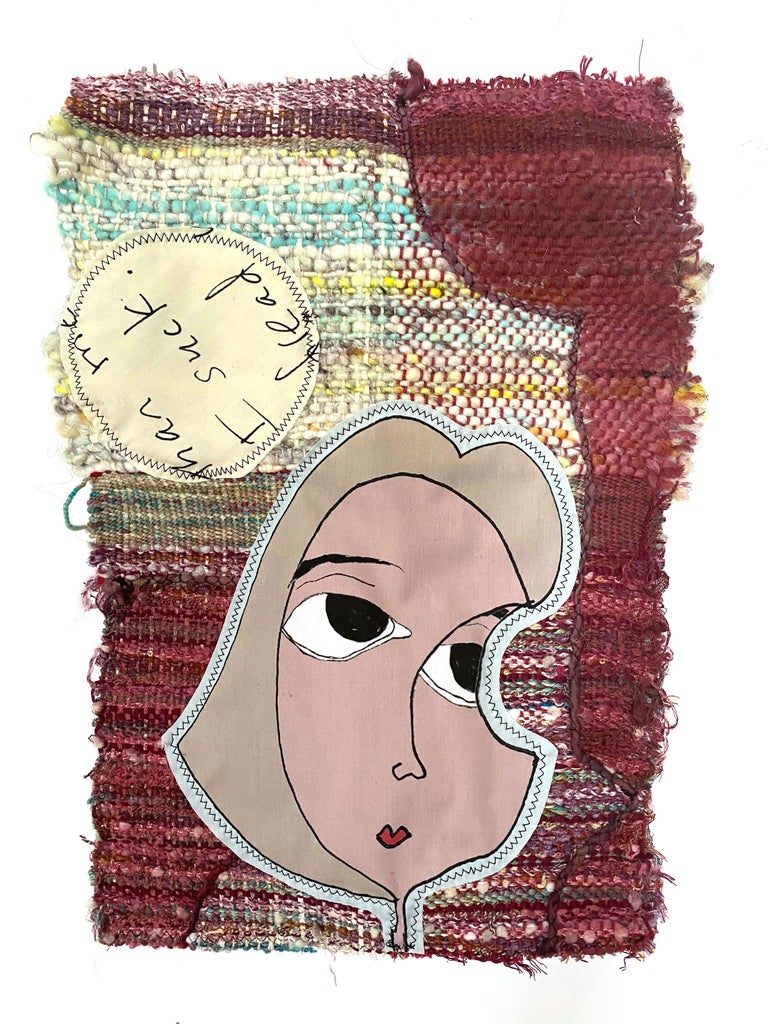 Small textile wall hanging: 'Rosy' - Mixed Media Art by Juliet Martin