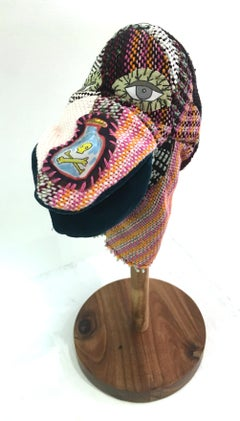 Handwoven Textile Sculpture: 'I am Puppet' (pink nose)
