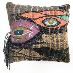 Handwoven Textile Fabric Sculpture: 'Eyes for You'