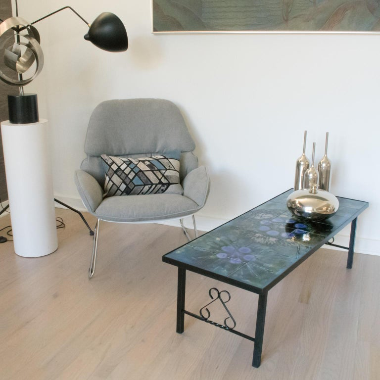 Juliette Belarti 1960s Wrought Iron Ceramic Tile Side Coffee Table In Excellent Condition For Sale In Atlanta, GA