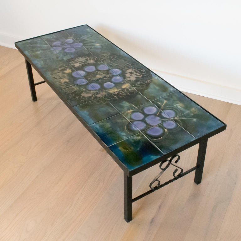 Mid-20th Century Juliette Belarti 1960s Wrought Iron Ceramic Tile Side Coffee Table For Sale