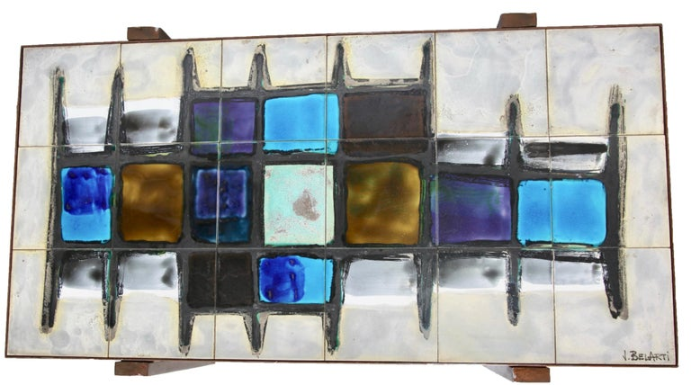 Juliette Belarti, Tiled Coffee Table 'Signed' Blue and Ocher Glazes, Steel Base For Sale 4