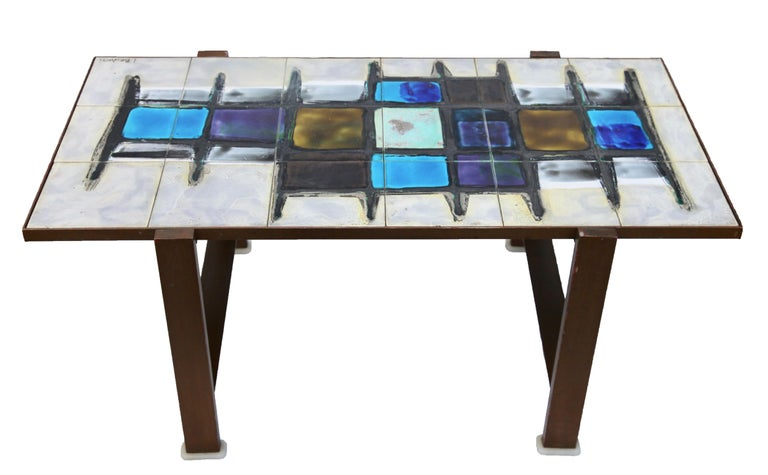 Mid-Century Modern Juliette Belarti, Tiled Coffee Table 'Signed' Blue and Ocher Glazes, Steel Base For Sale