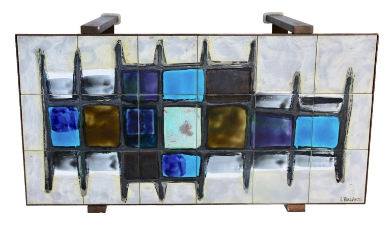 Belgian Juliette Belarti, Tiled Coffee Table 'Signed' Blue and Ocher Glazes, Steel Base For Sale