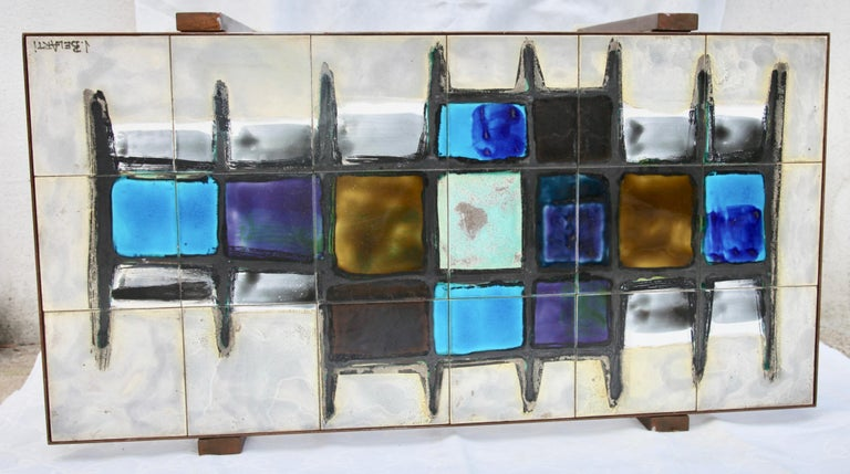Mid-20th Century Juliette Belarti, Tiled Coffee Table 'Signed' Blue and Ocher Glazes, Steel Base For Sale