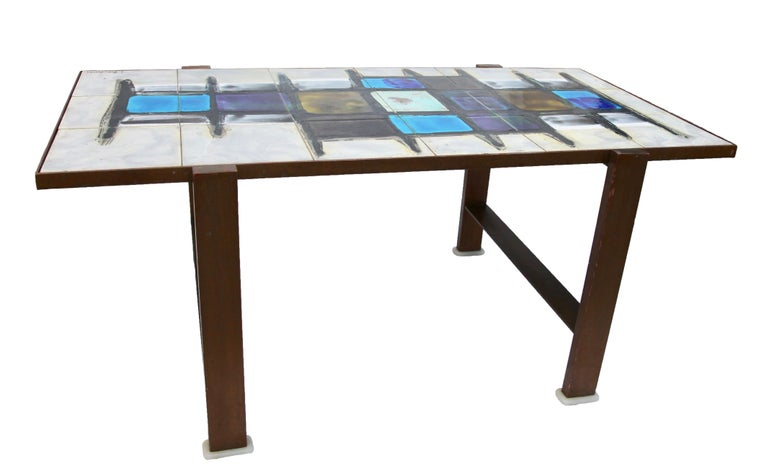 Metal Juliette Belarti, Tiled Coffee Table 'Signed' Blue and Ocher Glazes, Steel Base For Sale