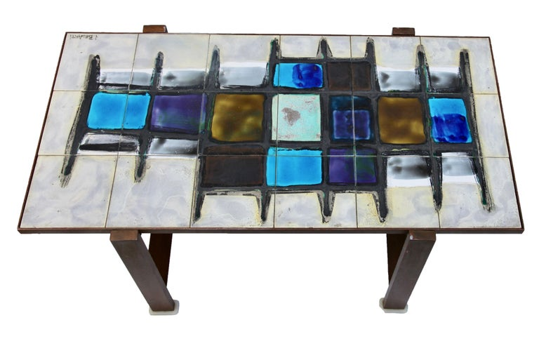 Juliette Belarti, Tiled Coffee Table 'Signed' Blue and Ocher Glazes, Steel Base For Sale 1