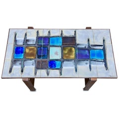 Juliette Belarti, Tiled Coffee Table 'Signed' Blue and Ocher Glazes, Steel Base