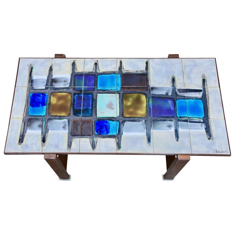 Juliette Belarti, Tiled Coffee Table 'Signed' Blue and Ocher Glazes, Steel Base For Sale