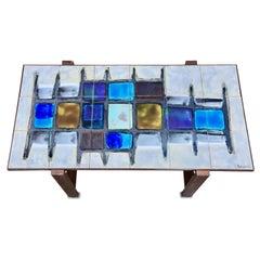 Juliette Belarti, Tiled Coffee Table 'Signed' Blue and Ocher Glazes, Steel Base