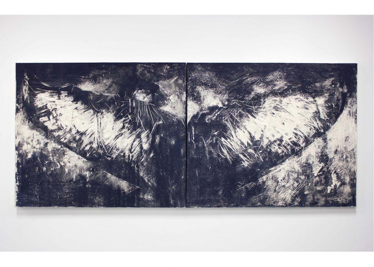TWO PANELS: Two Panels: each 60 x 72 in. Overall dimensions: 60 x 144 in. (152.40 x 365.76 cm) - depth 3 in.   The paintings in the exhibition portray a species that was present on Earth 30 million years before us. They travel 16,000 miles every