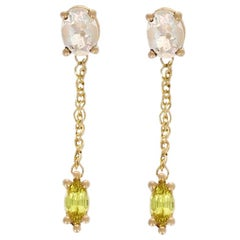 Juliette Earrings 14 Karat Yellow Gold with Fire Opals and Yellow Sapphires