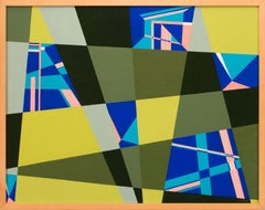 Framed Geometric Abstraction Oil Painting on Masonite by Juliette Steele