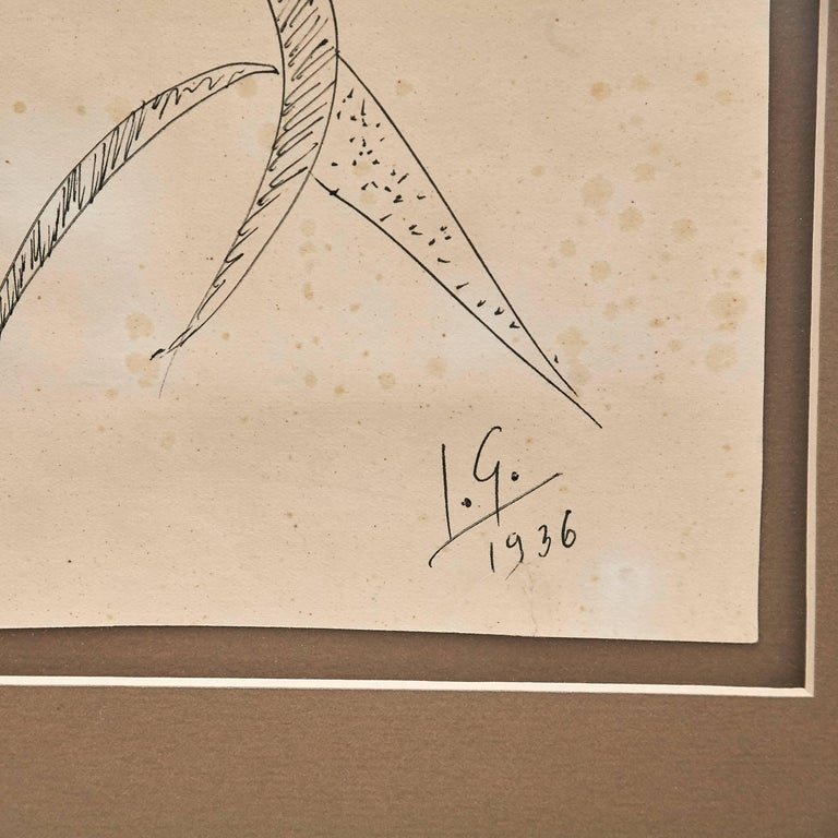 Mid-Century Modern Julio González Hand Signed Drawing, 1936 For Sale