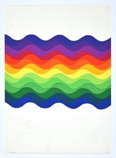 Composition - Colored waves - Original Screen Print by Julio Le Parc - 1976