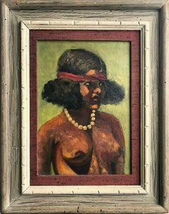 """Modernist Female Nude with Pearls"" Mid-20th Century Oil Painting on Canvas"