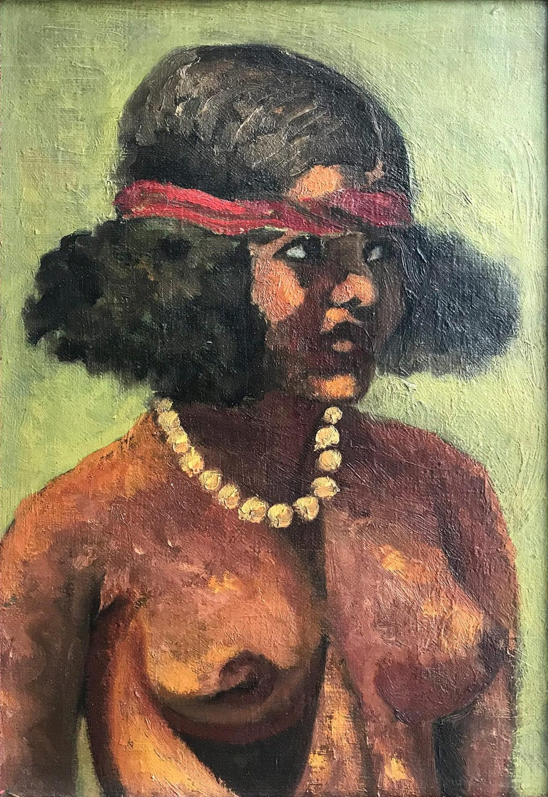 A strong modernist oil painting depicted in the 1940's by Spanish painter Julio Moises. Mostly known for his abstract figures on canvas, this piece is a wonderful representation of her nudes with bold use of colour, shape, and form. Moises was