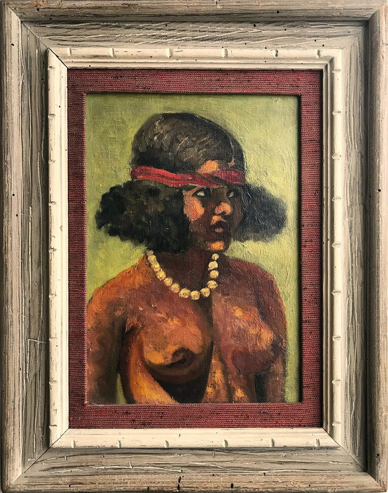 "Julio Moisés Fernández de Villasante Nude Painting - ""Modernist Nude with Pearls"" Oil Painting on Canvas"