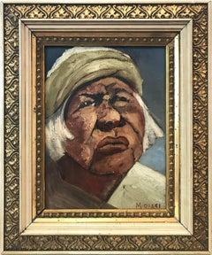 """Modernist Man's Portrait"" Mid-20th Century Spanish Oil Painting on Canvas"