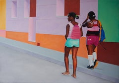 After School - Contemporary Figurative Oil Painting, Colorful, Joyful Painting