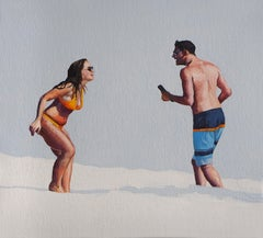 Beach Geometry 3 - Modern Figurative Oil Painting, Beach View, Realism, Couple