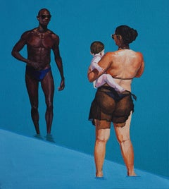 Beach Geometry 5 - Modern Figurative Oil Painting, Beach View, Woman And Man