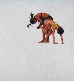 Beach Geometry I - Modern Figurative Oil Painting, Beach View, Realism, Woman