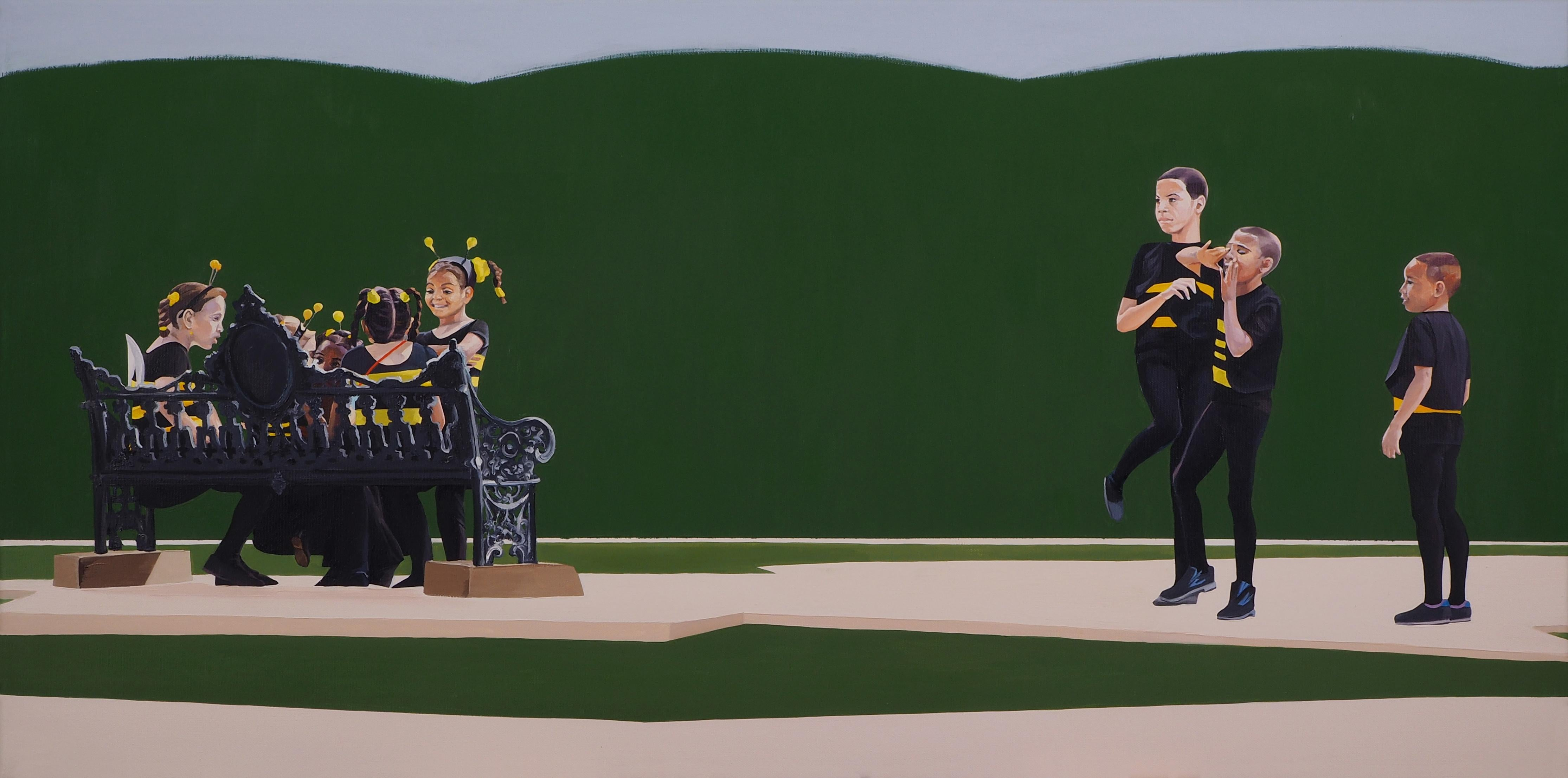 Bees - Modern Figurative, Photorealistic Oil Painting, Children, Realism, Joyful