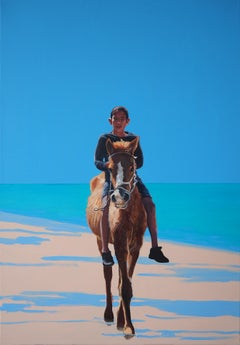 Boy On A Horse - Contemporary Figurative Oil Painting, Photorealism, Rider