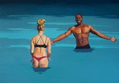 Come To Me Baby - Modern Figurative Oil Painting, Sea View, Realism, Love, Blue